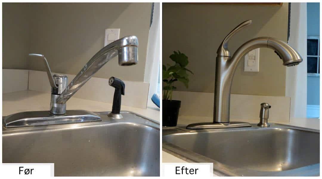 før og efter af montering af køkken amatur